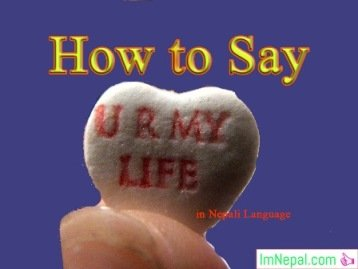 How to Say You Are My Life in Nepali Language - learn nepali language through english language